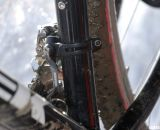 Katie used the new SRAM Red front derailleur with the YAW shifting, with a built-in chain watcher. © Cyclocross Magazine