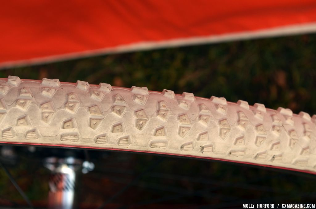 The white rubber is designed for icier conditions on Katie Compton\'s Trek Crockett. © Cyclocross Magazine
