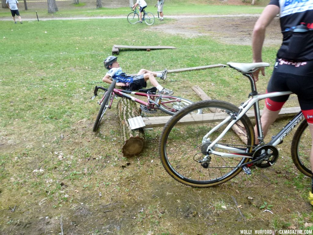 A racer goes down attempting the highest board © Cyclocross Magazine