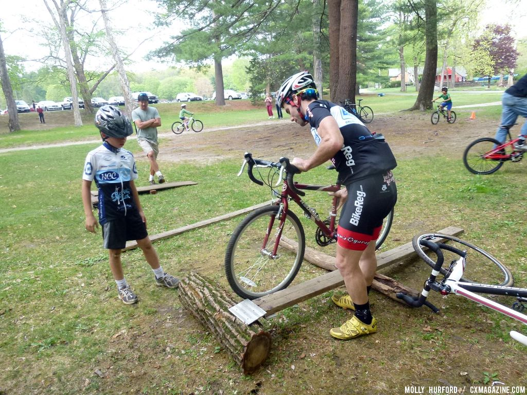 Lindine shows the right line... © Cyclocross Magazine