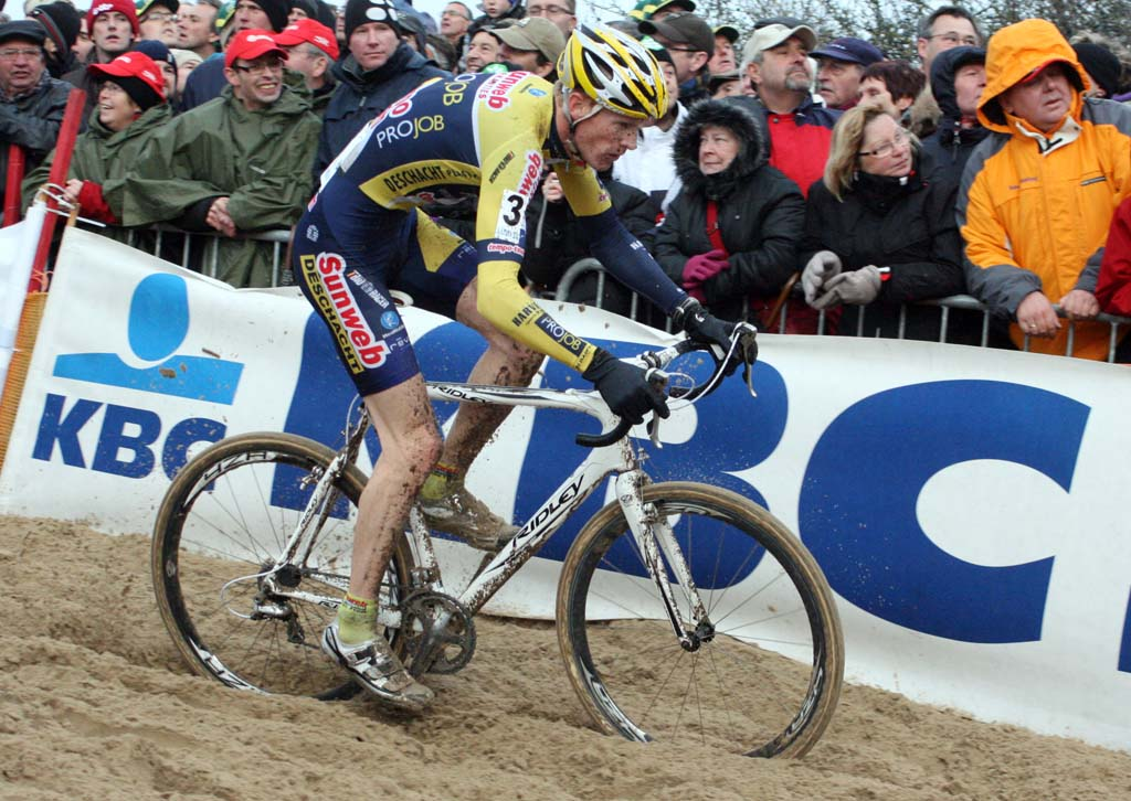 Klaas Vantornout rides the sand at Koksijde. ? Bart Hazen