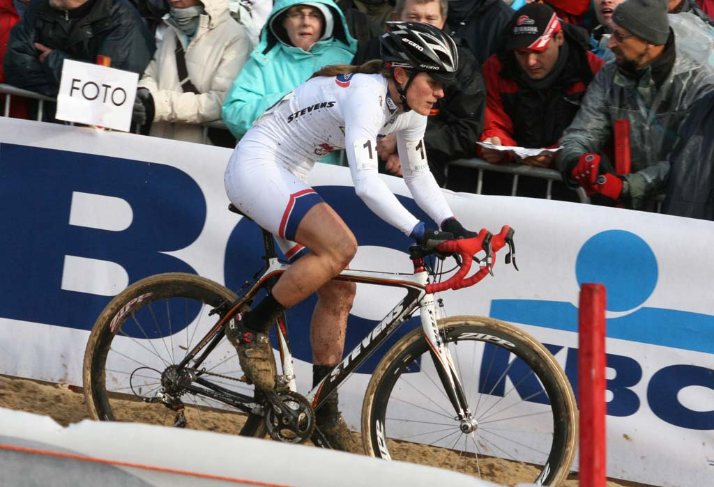 Katie Compton giving chase after early mechanicals and crashes. Koksijde Elite Women World Cup 11/28/2009 ?Bart Hazen