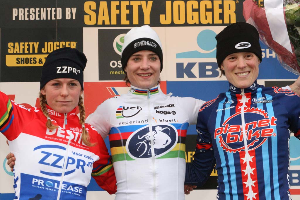 The women\'s podium: 1) Marianne Vos, 2) Daphny van den Brand, 3) Katie Compton (Planet Bike) ?Bart Hazen