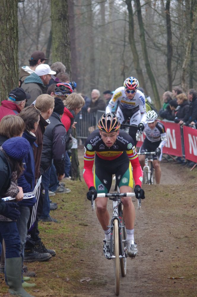 Sven Nys leads the newly crowned World Champion Zdenek Stybar. Photo courtesy of Christine