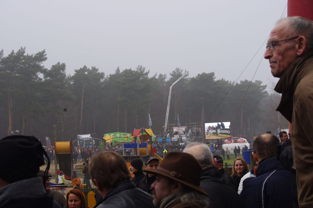 Huge crowds are always part of the Belgian cyclocross experience .  Photo courtesy of Christine Vardaros.