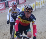 Sven Nys leads Stybar through the sand. Photo courtesy of Christine Vardaros.
