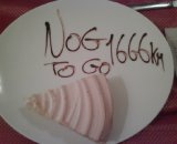 It's the 1,666km to go banner - over a citroen cake. Courtesy Lars Boom