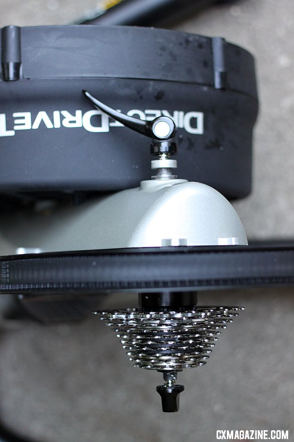 The rear hub of the LeMond Fitness Revolution cycling trainer. ©