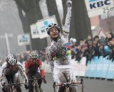 Marianne Vos wins the Azencross in Loenhout in a sprint from Kupfernagel and van den Brand © Bart Hazen