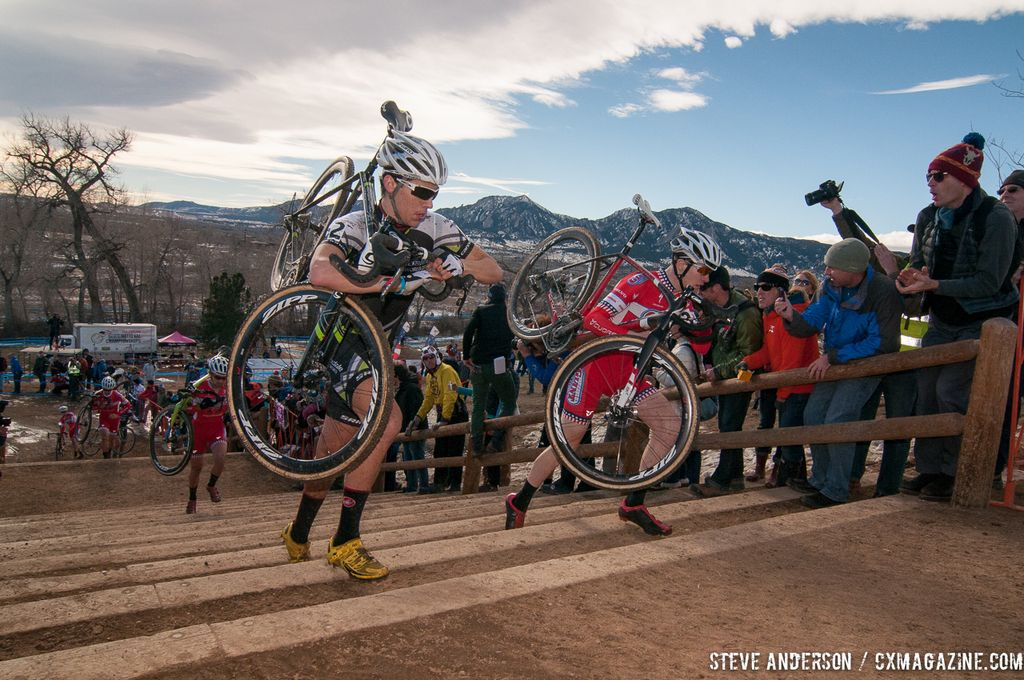 White and Owen hit the stairs in U23 2014 Cyclocross National Championships. © Steve Anderson