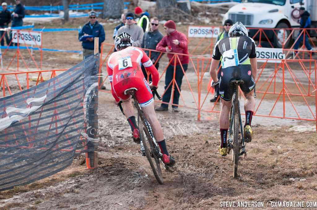 Ortenblad and White in U23 2014 Cyclocross National Championships. © Steve Anderson