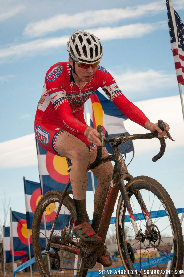 Heading to the win in U23 2014 Cyclocross National Championships. © Steve Anderson