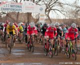 Cody Kaiser going for the holeshot in U23 2014 Cyclocross National Championships. © Steve Anderson