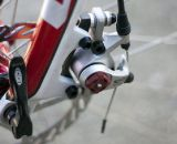 The Look fork uses I.S. disc brake mounts, and a post mount converter for this BB7 disc brake. ©Cyclocross Magazine