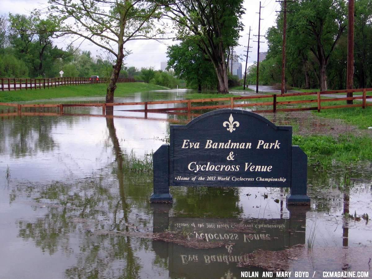 This Eva Bandman sign looks more fit for a marina than a cyclocross course. © Mary and Nolan Boyd