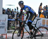 Johnson skidding across the line in the first ever Collegiate Relay at the 2014 National Cyclocross Championships. © Steve Anderson