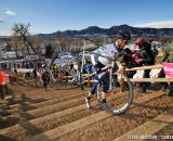 Robson leads the men up the stairs on Lap 1. 2014 Masters 45-49 Cyclocross National Championships. © Steve Anderson