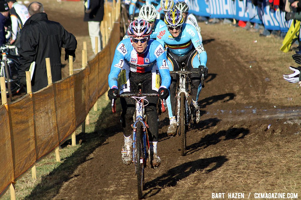 Stybar leads Bart Wellens early race.