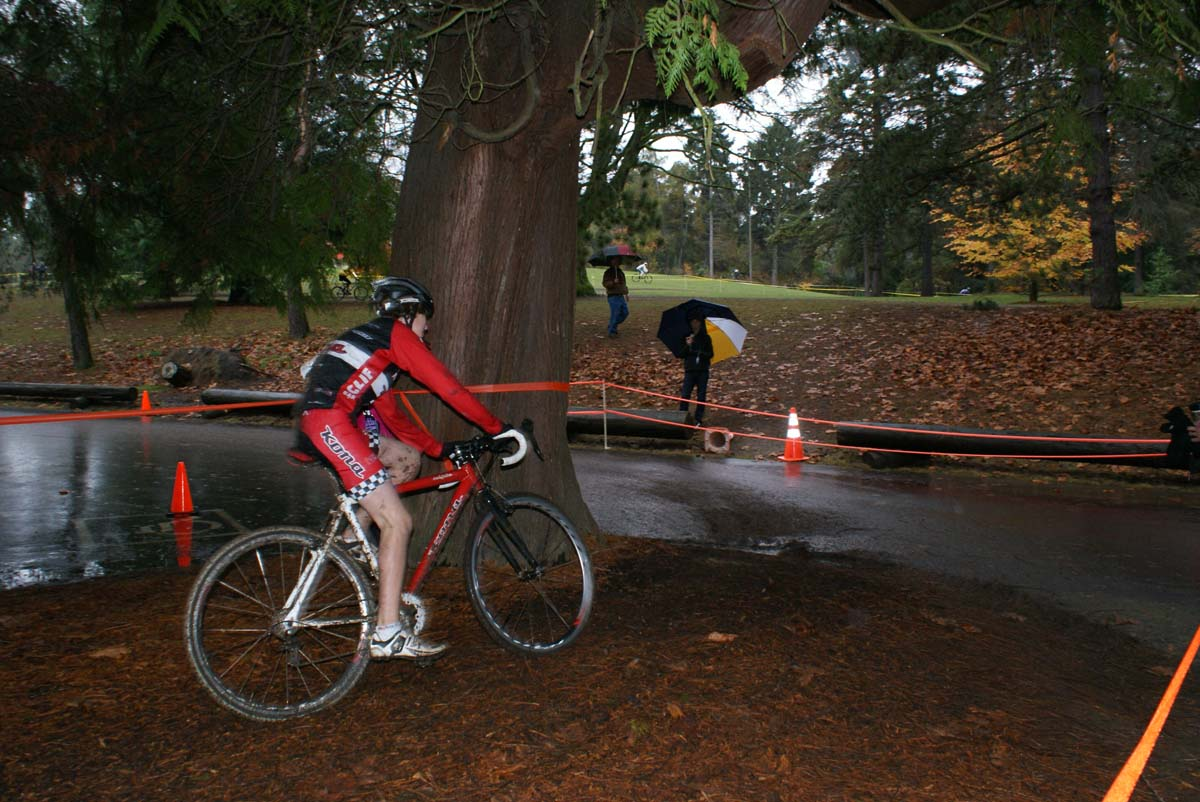 A Rad Racing rider negotiates the final turn onto the finish pavement. ? Kenton Berg