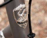 No shiny stickers here - a real headbadge from Moots in Steamboat Springs, Colorado. © Cyclocross Magazine
