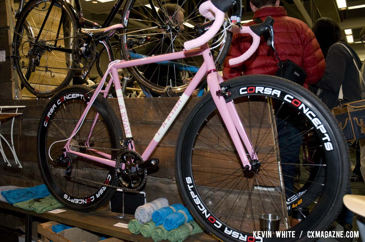 The custom pink Ira Ryan on display was built for Catherine Moore (Bicycles Outback), the 2011 Women's Texas state cyclocross champion. © Kevin White