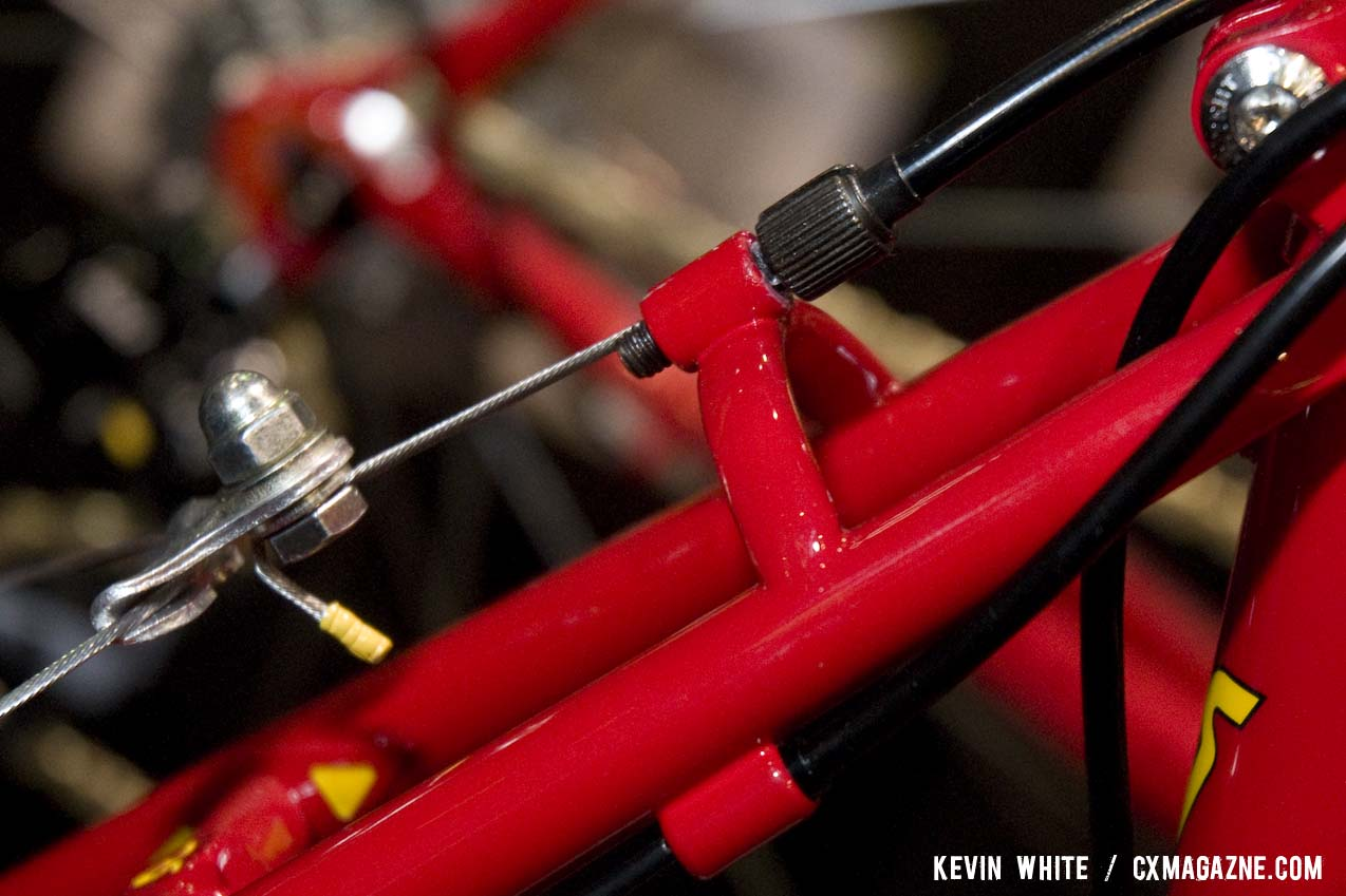 The adjustable brake cable stop is a plus for fine tuning. © Kevin White