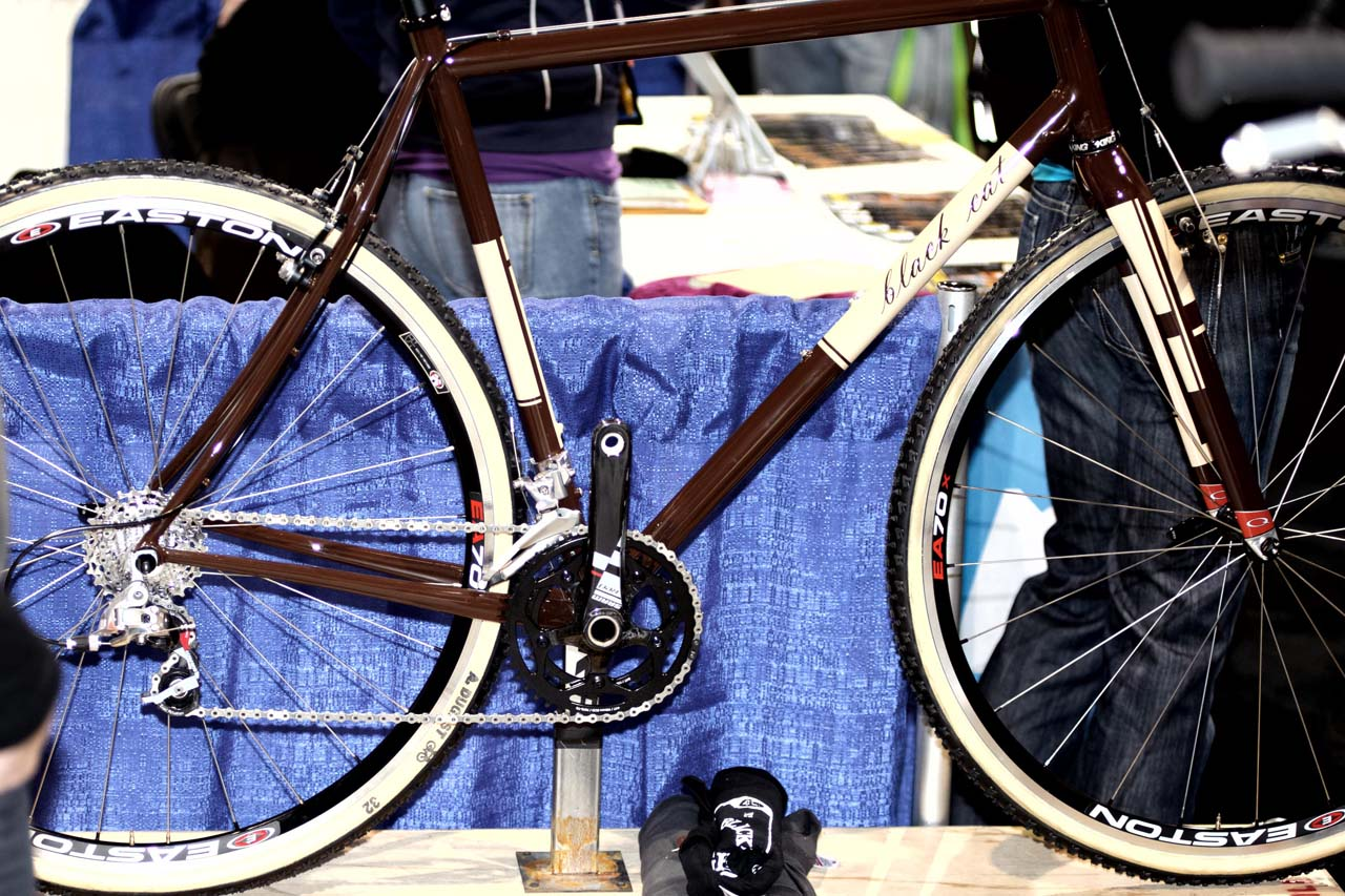 Black Cat Bicycles\' cyclocross rig. All work is done at the Santa Cruz builder\'s shop. From tube selection, miters, brazing and finished off with custom paint. ? Bill Schieken/www.cxhairs.com