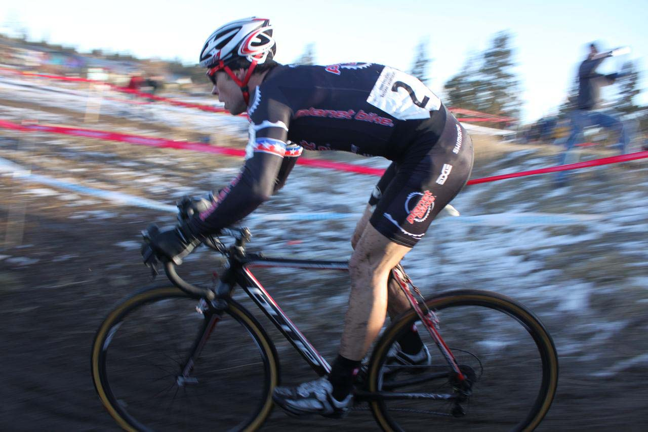 Jonathan Page had to pit the first lap and fight to chase back to the leaders. ? Cyclocross Magazine