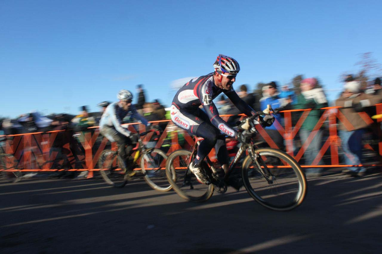 The pavement gave a brief respite from the slick conditions. ? Cyclocross Magazine