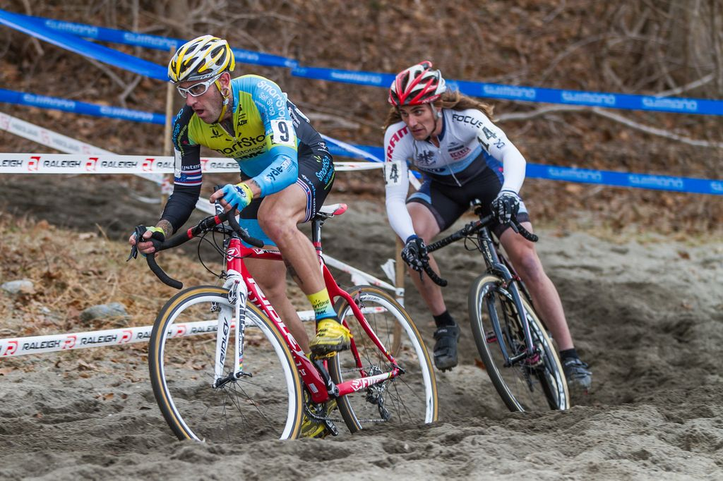 Adam Myerson and Anthony Clark, two of New England\'s favorite racers, flying through the sand. © Todd Prekaski