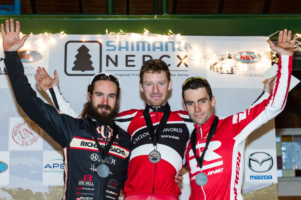 Today\'s Elite Men\'s podium: Lindine third, Timmerman second, and Milne wins again. © Todd Prekaski
