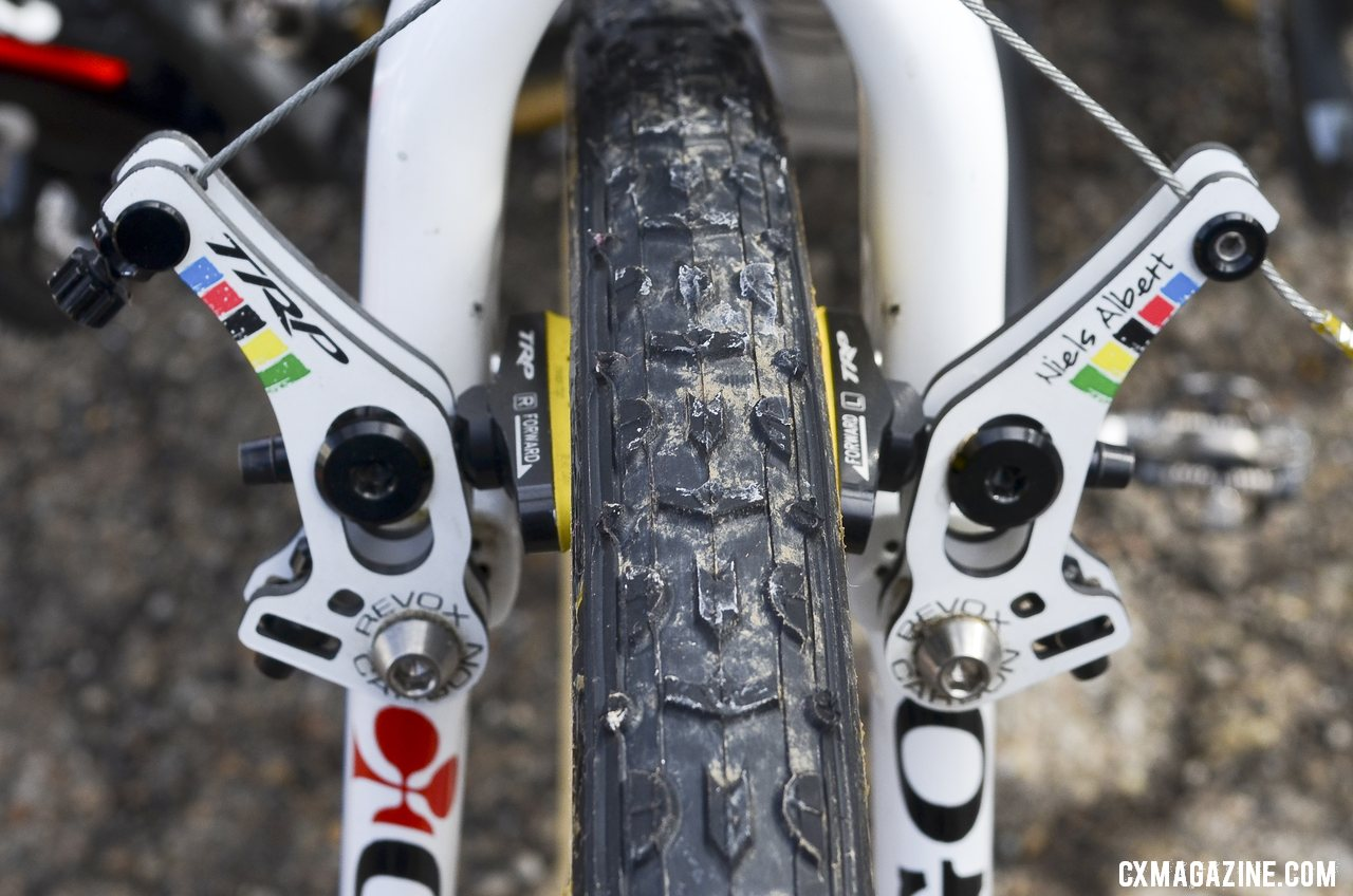 Niels Albert\'s uses the TRP Revo-X carbon low-profile cantilever brakes to stop his freshly glued Dugast Typhoon tires.  © Cyclocross Magazine