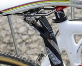 A Shimano PRO Vibe carbon post and his own World Champion-striped PRO Turnix saddle. © Cyclocross Magazine