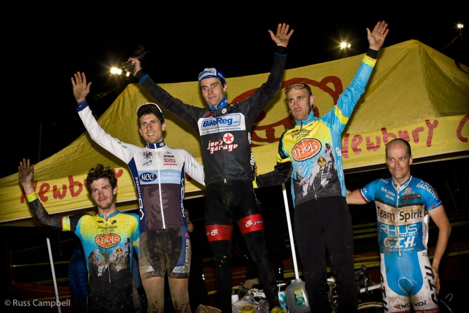 The men\'s podium: Lindine, Durrin, Myerson. © Russ Campbell