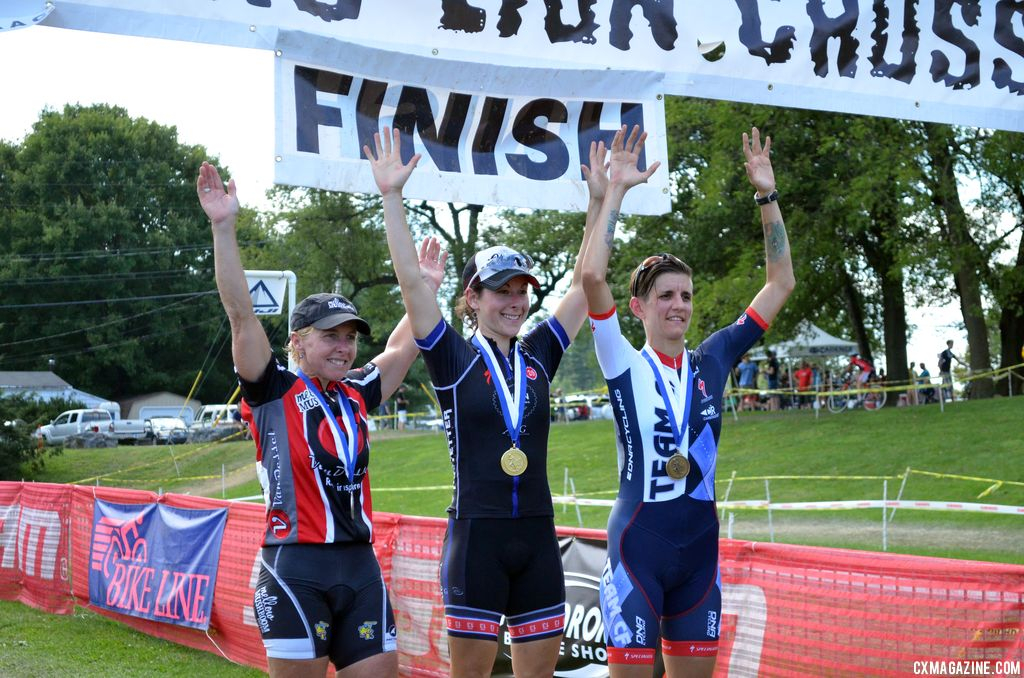 The women\'s podium at Nittany Lion Cross Day 2 2013. © Cyclocross Magazine