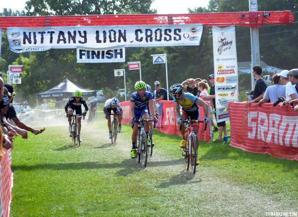 Myerson takes the sprint for fourth at Nittany Lion Cross Day 2 2013. © Cyclocross Magazine