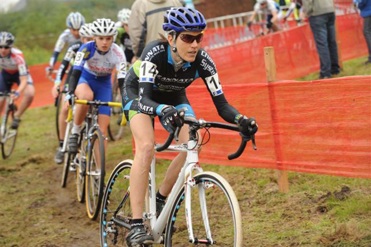 Christine Vardaros leads a group through the first lap in Niel. Photo: Courtesy Christine Vardaros
