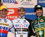 The men's podium, left to right: Stybar, Albert, Nys. ? Bart Hazen