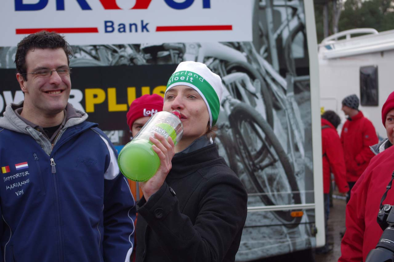 Marianne Vos taking a swig of the cactus jenever. ? Jonas Bruffaerts