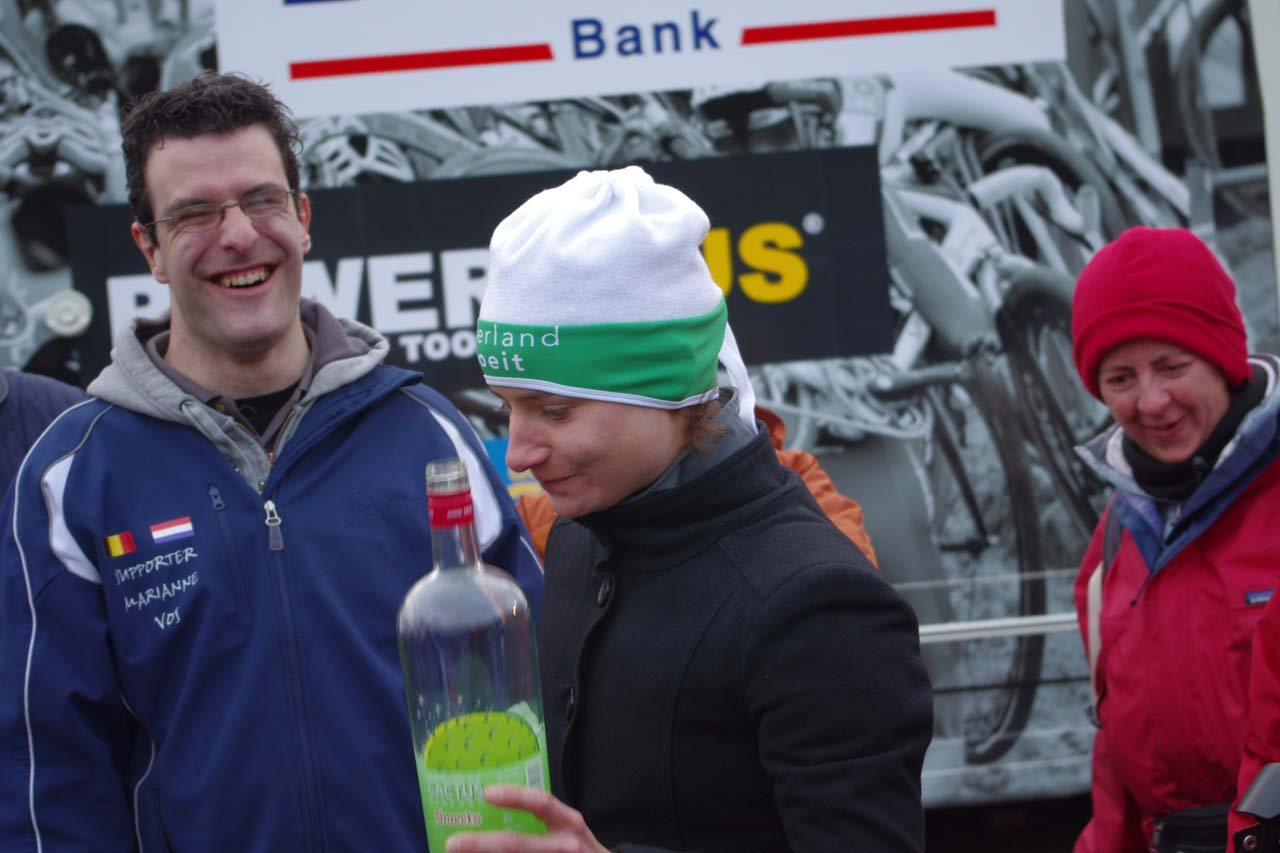 Vos and her supporters enjoy the post-race festivities. ? Jonas Bruffaerts