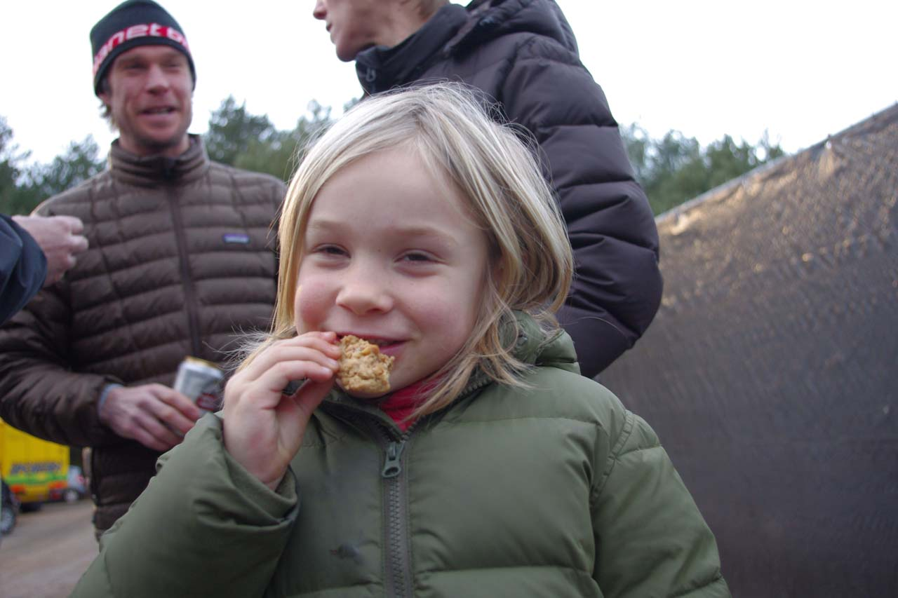 Emma Page enjoys some of the post-race treats. ? Jonas Bruffaerts