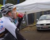 Dieter V. drinking his post-race coke. ? Jonas Bruffaerts