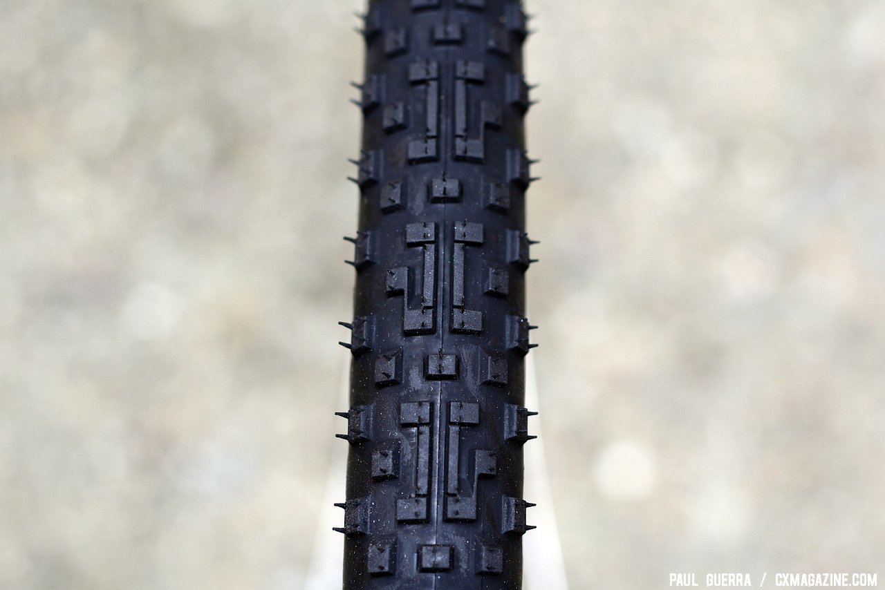 If you look closely you can see the C and G, Cedric Gracia\'s initials. Panaracer Cedric Gracia CXCG cyclocross clincher tire. © Paul Guerra / Cyclocross Magazine