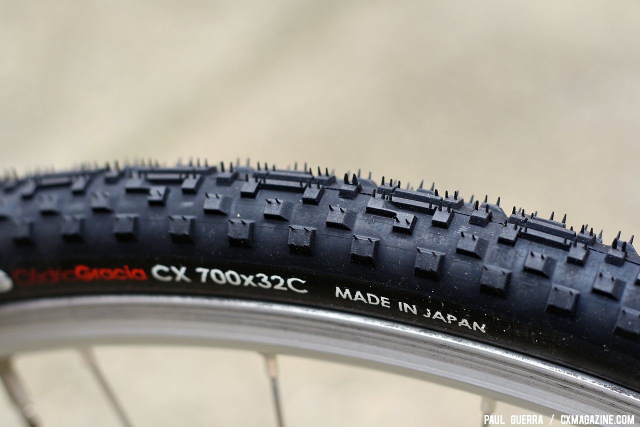 The side knobs look similar to the Cross Blaster and Cinder X on the Panaracer Cedric Gracia CXCG cyclocross clincher tire. © Paul Guerra / Cyclocross Magazine