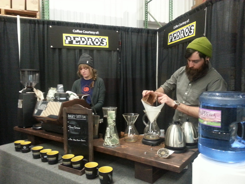 Pedro\'s brought Angry Catfish Bicycle and Coffee bar to brew coffee by the cup. © Cyclocross Magazine