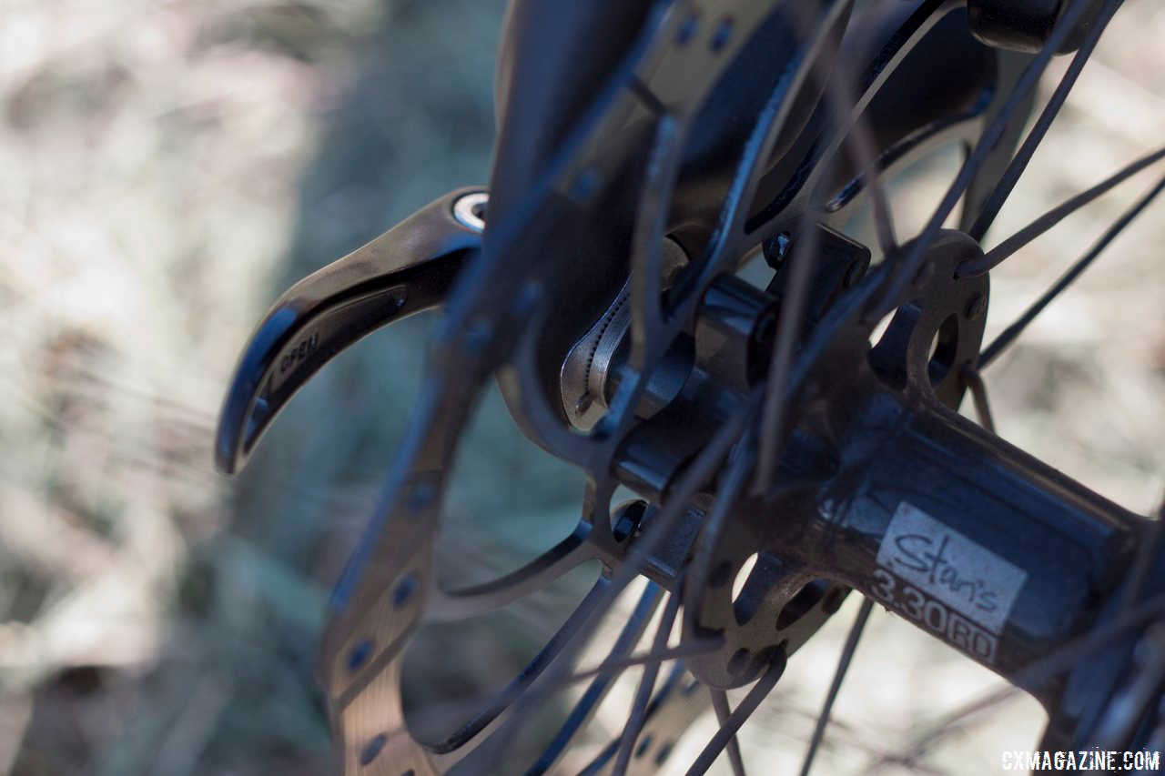 Tubeless ready and weighing in at 1520g for the set, the Stan's NoTube's Iron Cross wheelset comes as part of the stock setup. Aluminum spacers enable the use of either 130mm or 135mm spaced hubs. © Cyclocross Magazine
