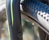 A view of the plugged cantilever fork mounts. © Cyclocross Magazine