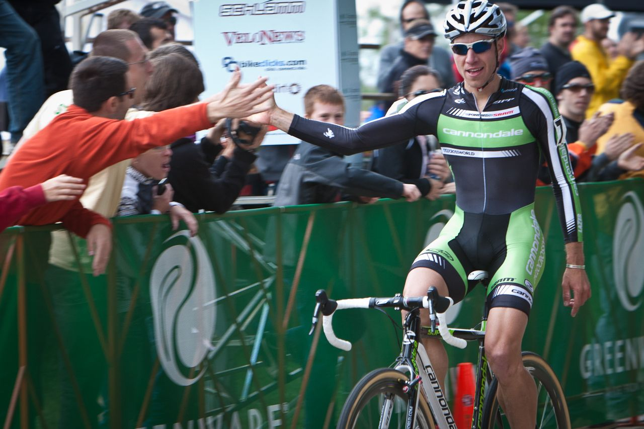 Jeremy Powers celebrates with the spectators after winning the first Planet Bike Cup USGP in Wisconsin. © Wil Matthews