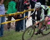 Jeremy Powers (Cannondale-Cyclocrossworld) negoitates one of the slippery off-camber corners that characterized the Planet Bike Cup course. © Wil Matthews