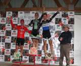 The Mens Podium, with Page (3rd), Powers (1st) and Vervecken (3rd). ? Amy Dykema